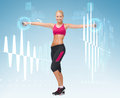 Young sporty woman with light dumbbells fitness sport and dieting concept Stock Image
