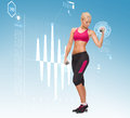 Young sporty woman with light dumbbells fitness sport and dieting concept Royalty Free Stock Photo
