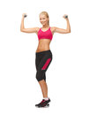Young sporty woman with light dumbbells picture of Stock Photography