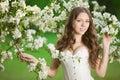 Young spring fashion woman in spring garden Springtime Summertim