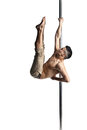 Young strong pole dance man isolated over white background Stock Photo