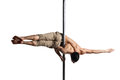 Young strong pole dance man isolated over white background Stock Image