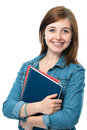 Young student girl with exercise books charming holding Royalty Free Stock Photo