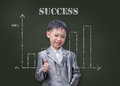 Young student smiling with showing thumb nail asian in front of chalkboard Royalty Free Stock Photography