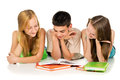 Young students reading books preparing for exams Stock Photos