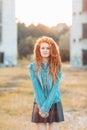 Young stylish girl with dreadlocks outdoors Stock Image
