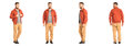 Young stylish man in a coral jacket isolated on white Royalty Free Stock Photo