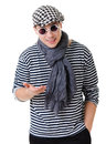 Young stylish talking camera twister man striped clothes isolated white background Royalty Free Stock Photo