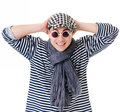 Young stylish twister man striped clothes isolated white background Royalty Free Stock Images