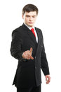 Young successful business man pressing imaginary button Royalty Free Stock Photo