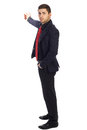 Young successful businessman on white background shows his hand back Royalty Free Stock Photo