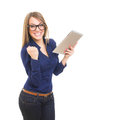 Young successful businesswoman celebrating success caucasian holding digital tablet and wearing nerd eyeglasses isolated on white Royalty Free Stock Images