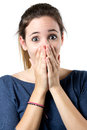 Young surprised woman holding her face portrait of Royalty Free Stock Photography