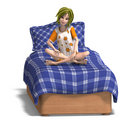 Young sweet cartoon girl invites to a slumber Royalty Free Stock Images