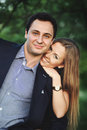 Young sweet couple outside bonding close up portrait Stock Photography