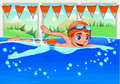 Young swimmer in the swimming pool funny cartoon and vector illustration Stock Images