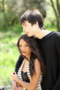 Young teen boy and girl outdoor portrait Royalty Free Stock Images