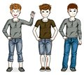 Young teen boys cute children group standing wearing fashionable casual clothes. Royalty Free Stock Photo