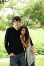 Young teen couple holding each other Royalty Free Stock Photos