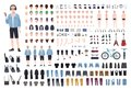 Young teenage boy DIY kit. Set of teenager`s body parts in different positions, various subcultures` attributes, clothes