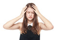 Young teenage girl with headache isolated Royalty Free Stock Photo