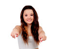 Young teenage girl pointing at camera with his index finger isolated on white background Royalty Free Stock Images