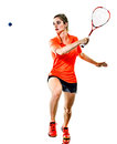 Young teenager girl woman Squash player isolated Royalty Free Stock Photo