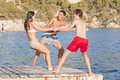 Young teens on mallorca vacation Royalty Free Stock Photography