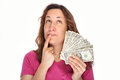 Young thoughtfully woman with money Royalty Free Stock Photo
