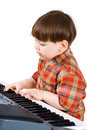 Young toddler stu to play music Royalty Free Stock Photos
