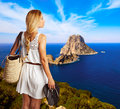-young tourist girl in formentera Royalty Free Stock Photo