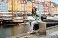 Young tourist woman visiting Scandinavia Royalty Free Stock Photo