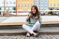 Young tourist woman visiting Scandinavia Royalty Free Stock Photo