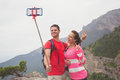 Young traveler couple taking a selfie picture. Royalty Free Stock Photo