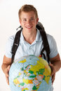 Young traveller with globe Stock Images