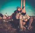Young travellers couple in reine village norway Royalty Free Stock Photography