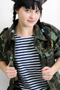 Young ukrainian woman in military uniform Stock Photo