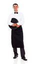 Young waiter full length portrait white Stock Photography