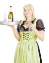 Young waitress with a tray in her hand Royalty Free Stock Image