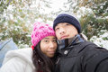 Young winter couple self Royalty Free Stock Photo