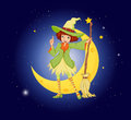 A young witch near the moon illustration of Royalty Free Stock Photo