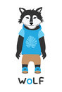 Young wolf in a jacket with a hood, art illustration. Card with fashion animals.