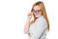 Young woman adjusting her eyeglasses pretty lady spectacles Royalty Free Stock Photos