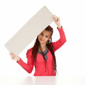 Young woman with african plaits holding blank sign Royalty Free Stock Photography