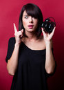 Young woman with alarm clock Royalty Free Stock Photo