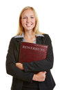 Young woman with application portfolio business at job interview Stock Images