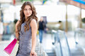 Young woman attractive girl with bags Stock Photography