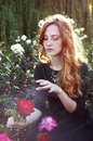 Young woman with auburn hair sitting in the rose garden casting a spell Stock Photos