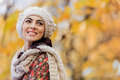Young woman at autumn forest portrait of the Stock Images