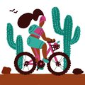 Young woman with a backpack and wearing a helmet rides a mountain bike alonf big cactuses. Isolated white background cartoon